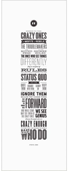 "Steve Jobs speech - ""Here's to the Crazy Ones"" typography poster"