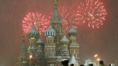 Fireworks explode over St. Basil Cathedral at Red Square during New Year's Day celebrations in Moscow, Russia.