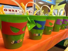 ninja turtle birthday party | Ninja Turtle birthday party treat buckets | Party Ideas birthday parties, ninja turtles birthday party, ninja turtles birthday ideas, ninja turtle birthday party, birthday party ninja turtle, birthday party treats, parti idea, turtl birthday, ninja turtle birthday ideas