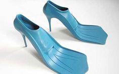 pool parties, fashion, crazy shoes, heel, duck, scuba diving, sea, beach, walk
