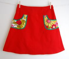 Hipskirt women red with pockets, size M/38