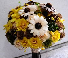 Yellow Green Brown Rustic Wood Bouquet