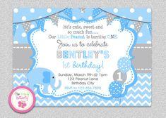 Blue and Grey 1st Birthday Elephant Birthday #elephant #birthdayinvitation #bluegrey #thetrendybutterfly