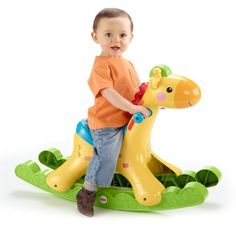 http://www.toys-zone.com/fisher-price-rockin-tunes-giraffe/ Rockin' Tunes Giraffe by Fisher-Price. Baby fun rocker. Will delight baby with fun phrases, music and lights.