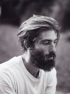white tee. beard. hair