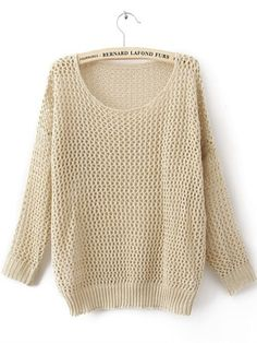 Beige Long Sleeve Open Stitch Sweaters with Metallic Yarn