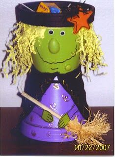 clay pot witch candy holder