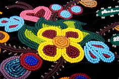 Métis octopus bag beadwork, beading close-up