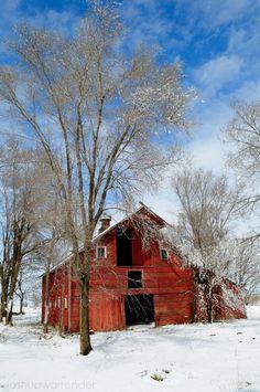 Snowy barn in Nebraska, USA