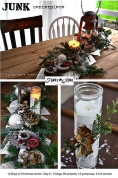 Day 8: A rusty lantern and gear junk Christmas centrepiece  - by Funky Junk Interiors #12daysofchristmas