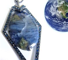 """LRVT Tanzanite & Blue Sapphire """"Terra"""" Pendant, inspired by ocean and the Earth. A percentage of the proceeds go The Nature Concervancy"""