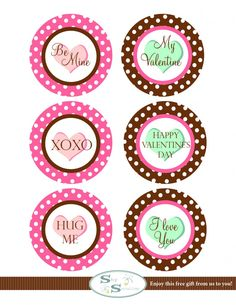 Valentine printables. Can be used for cupcake toppers or gift tags.