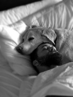 Man's best friend   blonde labrador   sleeping   dreams   sleep   dog   black & white photography   comfort   www.republicofyou.com.au
