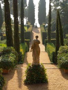 Garden statue amid cypress trees.