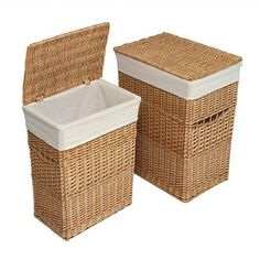 Beautiful Lined Wood Hampers.