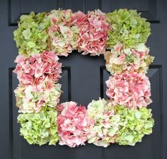 Hot glue hydrangeas onto a Dollar Tree frame for a beautiful & cheap wreath...I'm loving the square wreath idea...