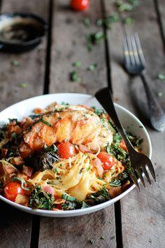 Brown Butter Lobster, Bacon,  Kale and Fontina Pasta | Half Baked Harvest