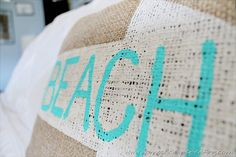burlap beach pillow made with freezer paper @ Domestically-Speaking.com