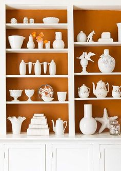 White ceramics in front of a bold painted shelf back.