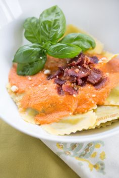 Roasted Red Pepper Ravioli with Bacon