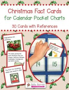 Christmas Fact Cards for Calendar Pocket Charts – Unit Extension Activity