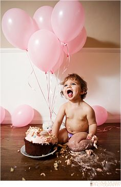 One Year Old Birthday Cake Smash! , Baby Photography, Balloons, Natalie Moser Photography