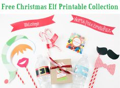 Free #Christmas Printables!  This kit include fun photo #props, water bottle #labels, gift #tags and more.  Tis the season to share :)