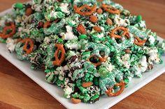 Green Popcorn & Pretzel Party Mix