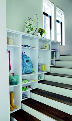 Space Saver: Everything in an ordinary mud room fits right into this stair cubby unit.