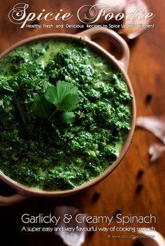 Garlicky and Creamy Spinach (Using Frozen Spinach) Recipe by @SpicieFoodie | #spinach #garlic #cream @Luis Giles Velez