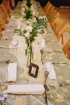patterned reception tablecloth, photo by Sun and Life Photography http://ruffledblog.com/swedish-american-hall-wedding #weddingideas #tablescape