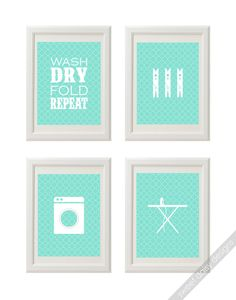 PRINTABLE Laundry Room Wall Art 4 Laundry Prints. $12.00, via Etsy.