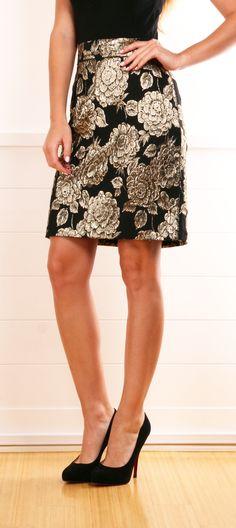 Gold/Black Floral Skirt