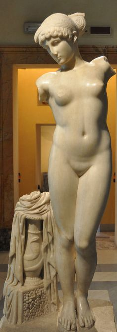 The Esquiline Venus, Roman copy of a Hellenistc Neo-Attic school statue, maybe commissioned by Emperor Claudius for the imperial gardens. The statue was found on the Esquiline Hill in Rome in 1874. On display at Museo Capitolino, Rome.