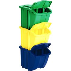 Suncast Multi Colored Recycle Bin Kit: Great for separating recyclables. You can put it in the garage, or in the kitchen. Easy for the whole family to use. Just assign a color to glass, one to plastic, and one to aluminum. #WalmartGreen