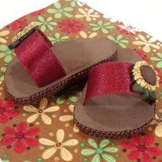 urgundy Sunflowers Sassy Sandals for American Girl Doll