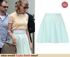 Taylor Swift's mint green skater skirt. Outfit Details: http://wwtaylorw.com/3097
