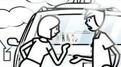 Frame from an awesome video by the XYZ creative studio. Stickers with people on their car.
