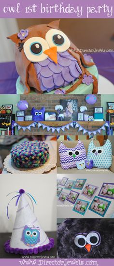 Baby Girl Purple and Teal Turquoise First Birthday Owl Party www.directorjewels.com - Owls, Banner, Plush, Smash Cake, Photo Display, Party ...