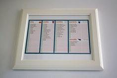 Frame your cleaning list and stick on the fridge! Check off items with dry erease markers.