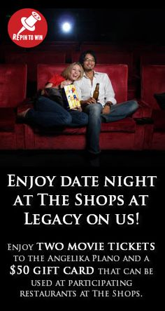 PIN 1: Repin this pin from The Shops at Legacy (http://bit.ly/REPINtoWIN_2) and you'll be entered to win a date night at The Shops!  Click the pin to see full rules.  Repin by 5/10/12 at noon CT to enter.