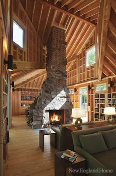 mountain cabins, living rooms, dream, ceiling design, log cabins, high ceilings, wood ceilings, hous, stone fireplaces