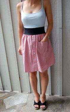 upcycled+mens+shirts | Upcycled dress made out of orange and blue striped mens dress shirt ...