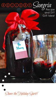 Holiday Sangria Recipe and Gift Idea holiday sangria, gift ideas, homemade gifts, diy gifts, entertain, spa gifts, hostess gifts, christma, sangria recipes