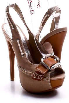 Tan Canvas Boat Peep Toe Slingback Heels ~ Love these!