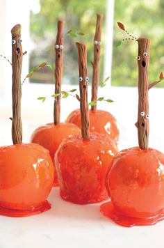 Orange Candy Apples and Spooky Forest Sticks. Project from Glitterville's Handmade Halloween.