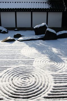 Snow in the zen garden.
