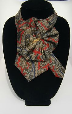 Fashionable Ladies Silk Necktie Scarflette in Red Navy Golden Paisley / Upcycled Necktie Accessory via Etsy