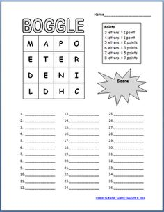 Free Boogle Templates~Because this is in MS Word, you can change the letters - get a whole new game every time!