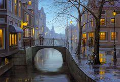 """Puzzle EDUCA """"Noche lluviosa"""" (Eugene Lushpin), 500 piezas."""
